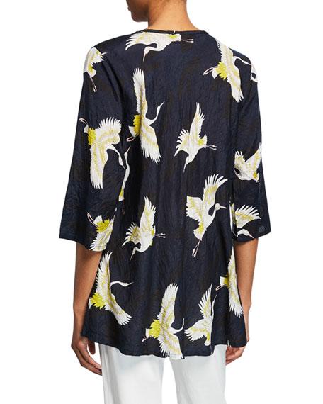 Masai Kata Crane-Print V-Neck 3/4-Sleeve Shantung Top