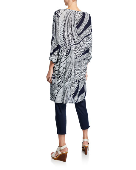 Masai Nan Antic Greek Print 3/4-Sleeve Tunic Dress