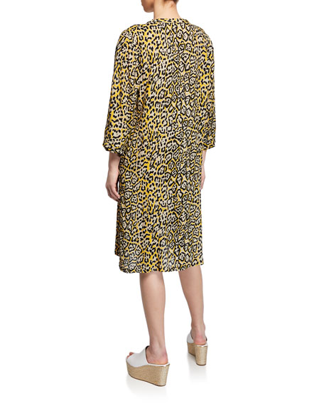 Masai Nancy Leopard-Print V-Neck 3/4-Sleeve Dress