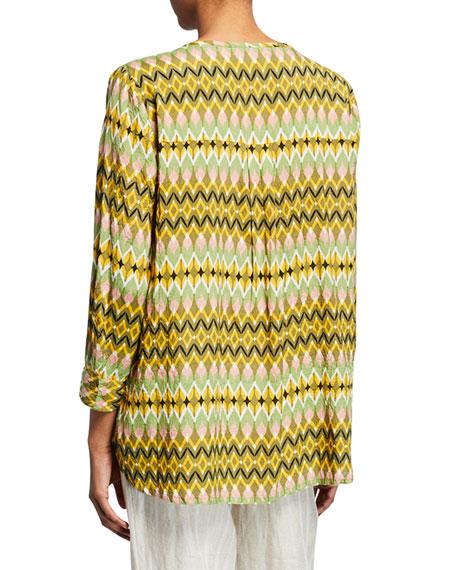 Masai Ibia Kaleidoscope V-Neck 3/4-Sleeve Blouse