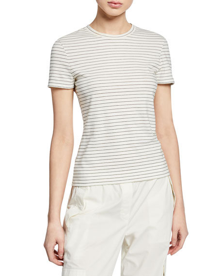 Theory Moto Stripe Crewneck Short-Sleeve Tiny Tee