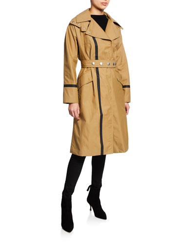 Barnton Long Contrast-Trim Trench Coat