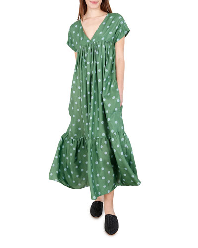 Gillian Polka Dot Short-Sleeve Maxi Dress