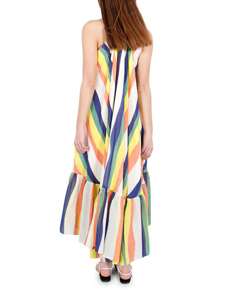 Whit Orly Striped Halter Long Dress