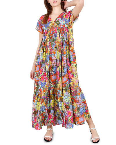 Gillian Floral-Print Short-Sleeve Dress