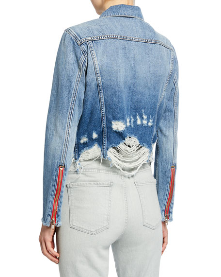 Etienne Marcel Cropped Denim Jacket with Zippers