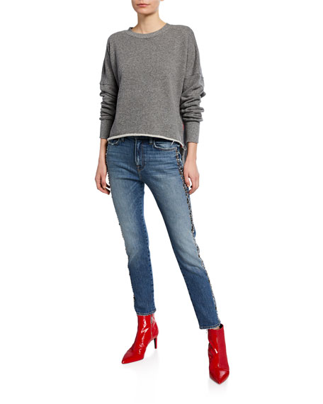 Etienne Marcel High-Rise Straight-Leg Jeans with Studded Sides