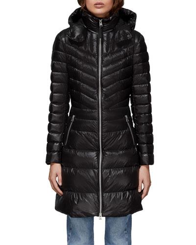 Lara Fitted Down-Fill Puffer Coat w/ Detachable Hood