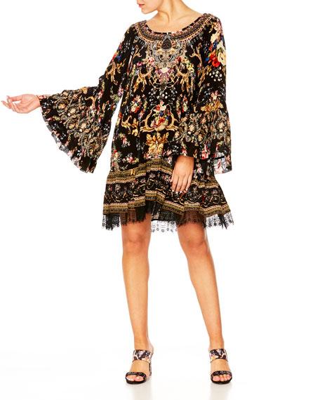 Camilla Printed A-Line Frill Dress w/ Lace