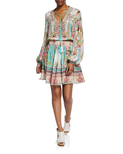 Short Shirred Printed Long-Sleeve Dress