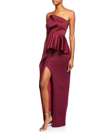 Black Halo Jonas Strapless Column Gown with Asymmetric Flounce & High Slit
