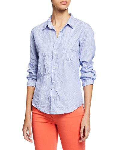 Dot-Print Button-Down Long-Sleeve Cotton Poplin Shirt