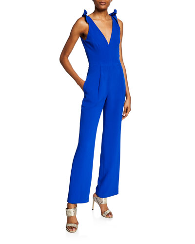 Maira V-Neck Sleeveless Jumpsuit with Bow Shoulder Detail