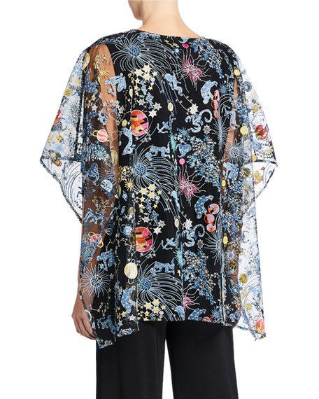 Caroline Rose Zodiac Embroidered Lined Caftan