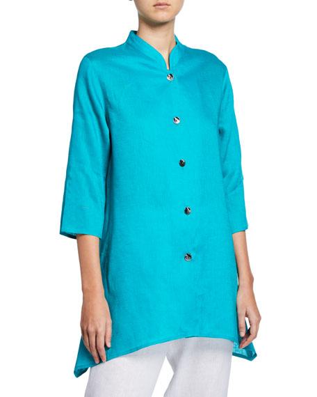 Caroline Rose Button-Front Side-Fall Tissue-Linen Shirt