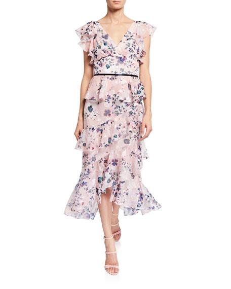 Marchesa Notte Floral-Print Burnout Chiffon V-Neck Flutter-Sleeve Ruffle Dress