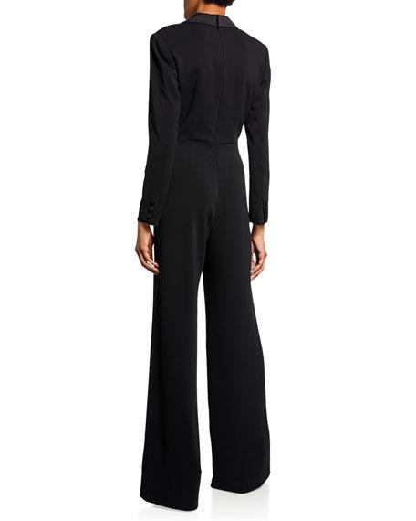 Jay Godfrey Roland V-Neck Long-Sleeve Tuxedo Jumpsuit