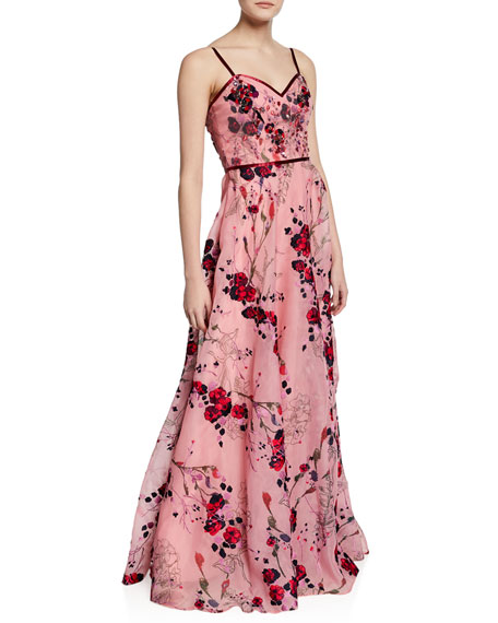 Marchesa Notte Printed Floral-Embroidered Sleeveless Organza Gown w/ Beaded Bodice