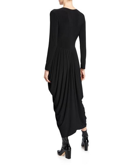 Norma Kamali Long-Sleeve Waterfall Dress
