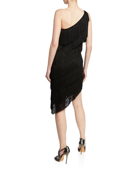 Norma Kamali One-Shoulder Sleeveless Asymmetric Fringe Dress