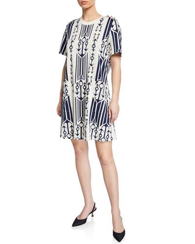 Anchor-Print Belted Short-Sleeve T-Shirt Dress