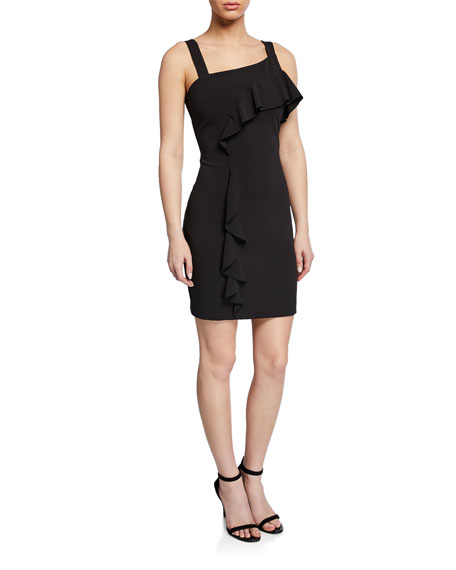 Parker Black Lyla Sleeveless Ruffle Mini Crepe Dress