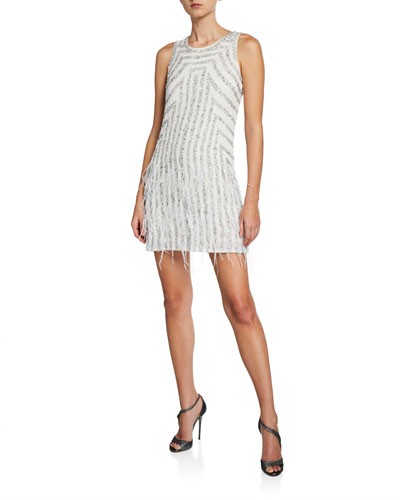 Allegra Motif Beaded Georgette Sleeveless Shift Dress with Feathers