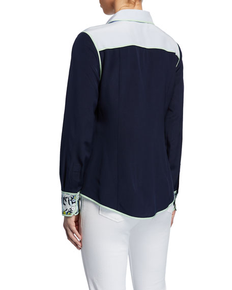 Tory Burch Jackie Colorblock Button-Front Long-Sleeve Silk Blouse