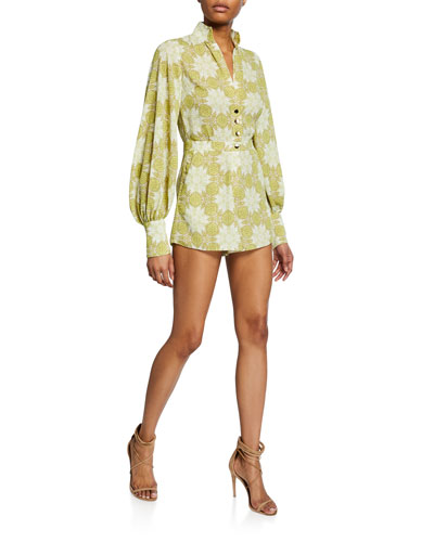 Lashawn Printed Long-Sleeve Romper