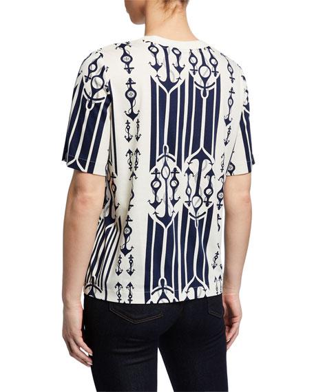 Tory Burch Anchor-Print Short-Sleeve T-Shirt with Pockets