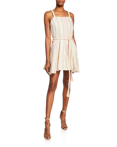 Alexis Dimma Striped Sleeveless Mini Linen Dress w/ Braided Belt