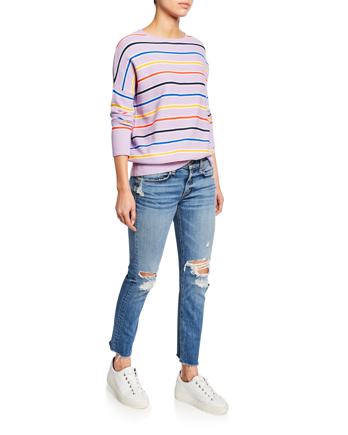 Dre Low Rise Ankle Slim Boyfriend Jeans With Ripped Knees by Rag & Bone