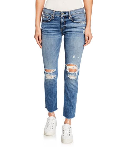 Rag & Bone Dre Low-Rise Ankle Slim Boyfriend Jeans with Ripped Knees