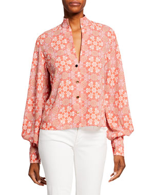 1c5b53d5 Alexis Bertha Printed Button-Front Bishop-Sleeve Blouse