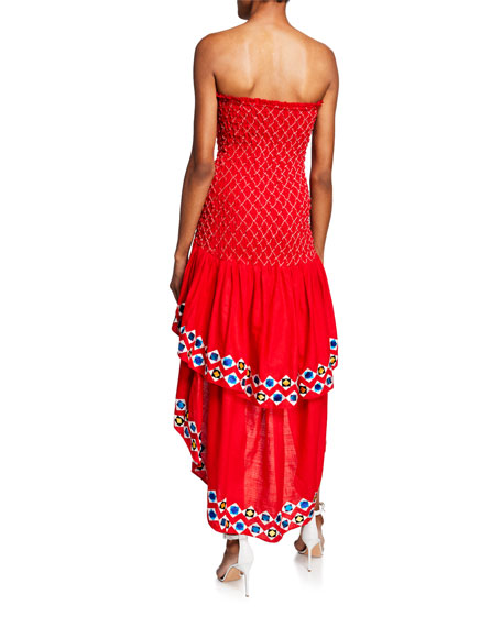 Alexis Revada Strapless High-Low Embroidered Dress