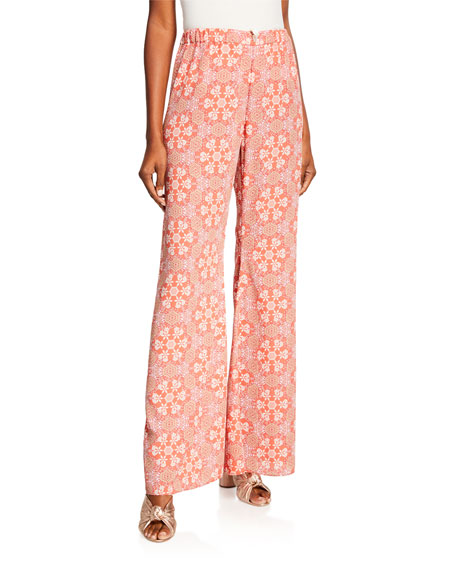 Alexis Aggie Mosaic-Print Flare Pants