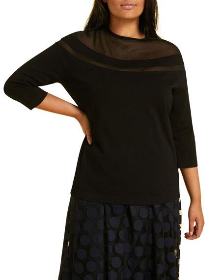 Marina Rinaldi Aire Crewneck 3/4-Sleeve Sweater