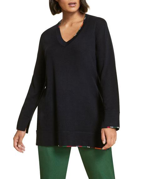 Marina Rinaldi Ali V-Neck Long-Sleeve Wool Sweater w/ Striped Trim