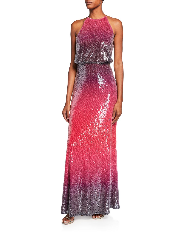 3a464a5297dd6 Tadashi Shoji Ombre Sequin Halter Gown | Neiman Marcus
