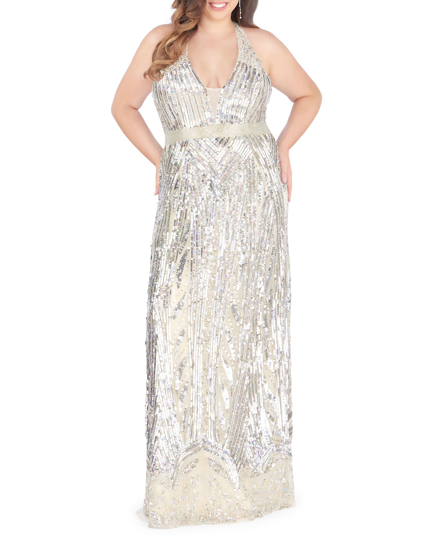 Plus Size Sequin Overlay V-Neck Racerback Column Gown