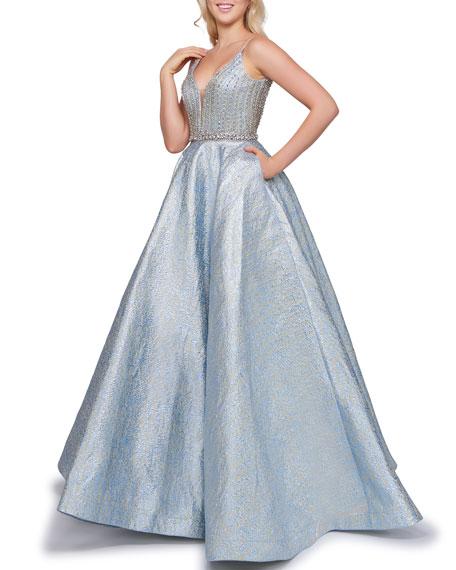 Mac Duggal V-Neck Sleeveless Metallic Novelty Ball Gown