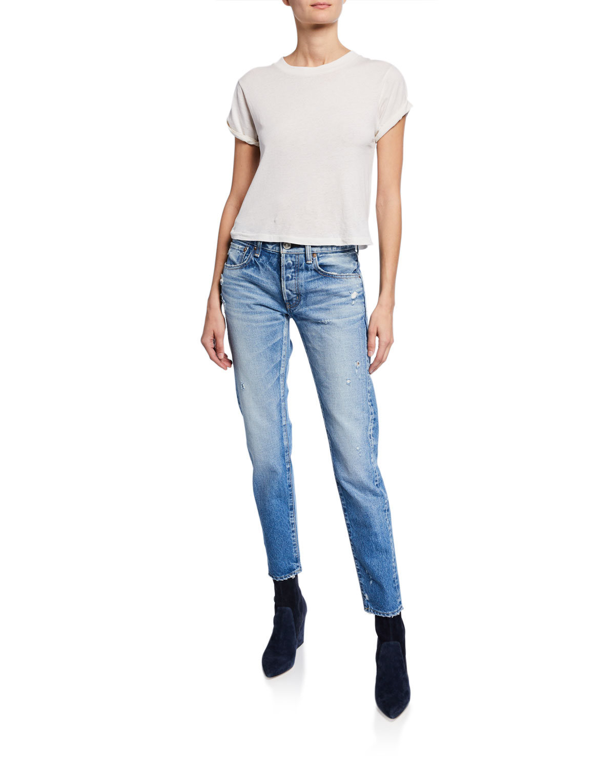 Moussy Vintage Magee Tapered Distressed Ankle Jeans Neiman Marcus