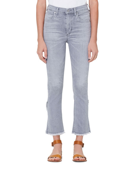 Citizens of Humanity Drew High-Rise Flare-Leg Cropped Fray Jeans