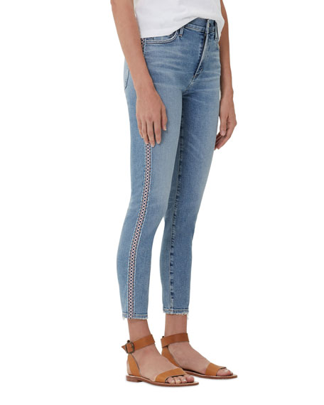 Citizens Of Humanity ROCKET CROP HIGH-RISE CHICO STRIPE SKINNY JEANS
