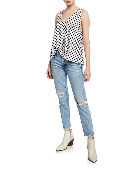 MOUSSY VINTAGE Lawton Tapered Mid-Rise Distressed Jeans
