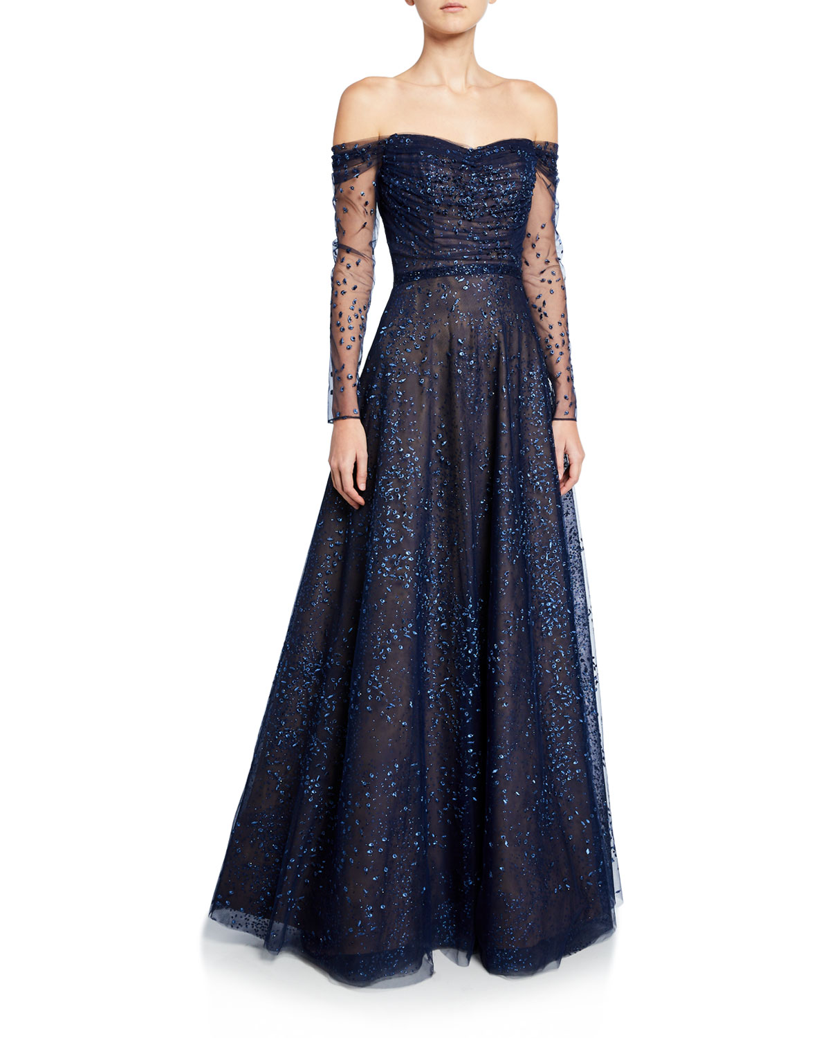 ombre-embellished-off-the-shoulder-long-sleeve-shirred-gown by rene-ruiz