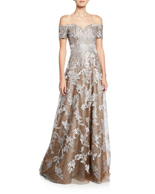 d1e6fde5d5e Rene Ruiz Off-the-Shoulder Sweetheart Short-Sleeve Metallic Lace Gown