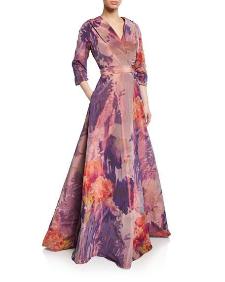 Rene Ruiz Floral Mikado 3/4-Sleeve Mock-Wrap Gown