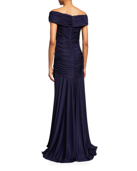 Rene Ruiz Off-the-Shoulder Cap-Sleeve Shirred Gown