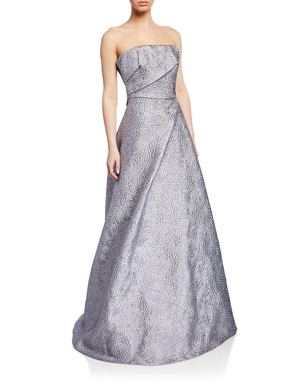 Rene Ruiz Strapless Textured Taffeta Bustier Gown Neiman Marcus